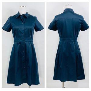 Brooks Brothers Navy Blue Fir Flare Shirt Dress